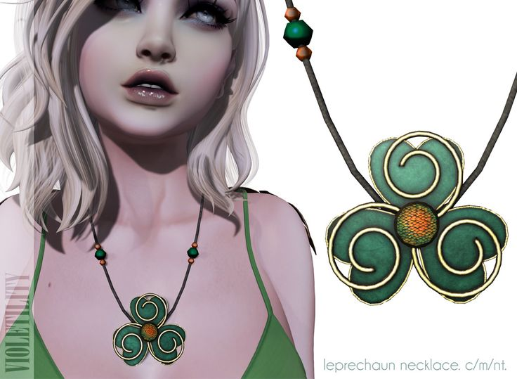 https://flic.kr/p/FzTfJK | Violetility - Leprechaun Necklace | BEPSL is having a St. Patrick's Day Hunt! This is the free Violetility gift hidden at the mainstore. For hints and more info, visit the website: bepsl.com/st-patricks-day-hunt/ or join the hunt group for the HUD!  The Leprechaun Necklace includes a Celtic triskelion, clover, and snake scale center.