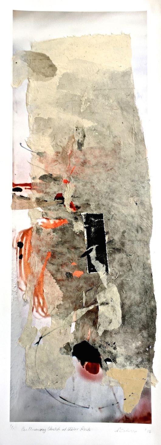 Elaine d'Esterre - Preliminary Sketch at Ubirr Rock, 2016, digital print and collage, 75x25 cm. Also ART BLOG at http;//elainedesterreart.com/ and http://www.facebook.com/elainedesterreart.com/ and http://instagram.com/desterreart/