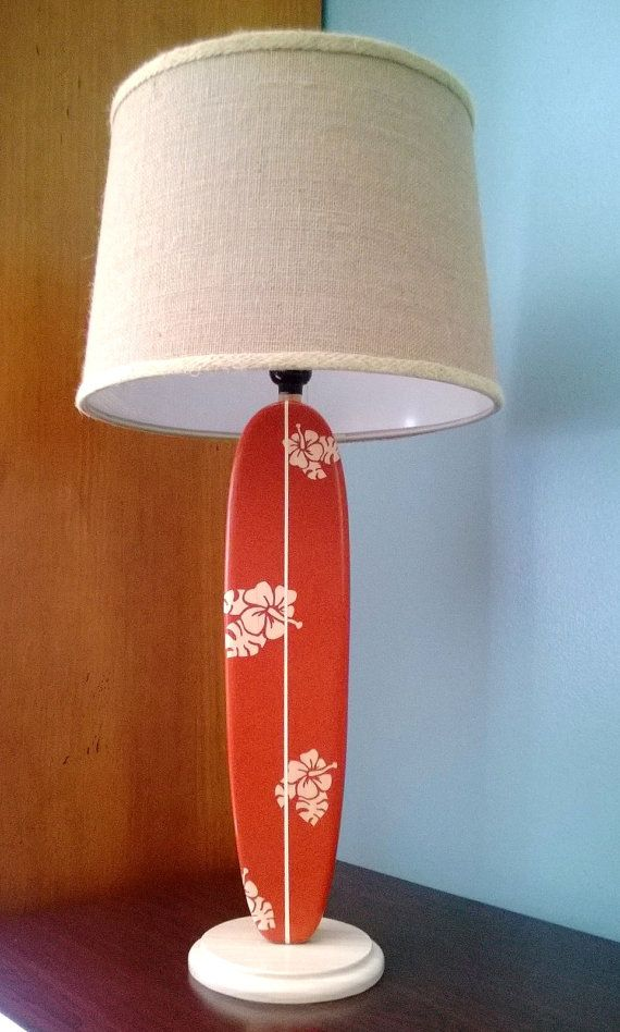 Hibiscus Surfboard Table Lamp by MarkerSix on Etsy, $169.00