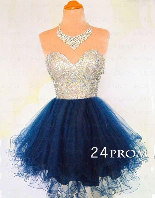 Sweetheart A-line Rhinestone Short Prom Dress, Homecoming Dress – 24prom