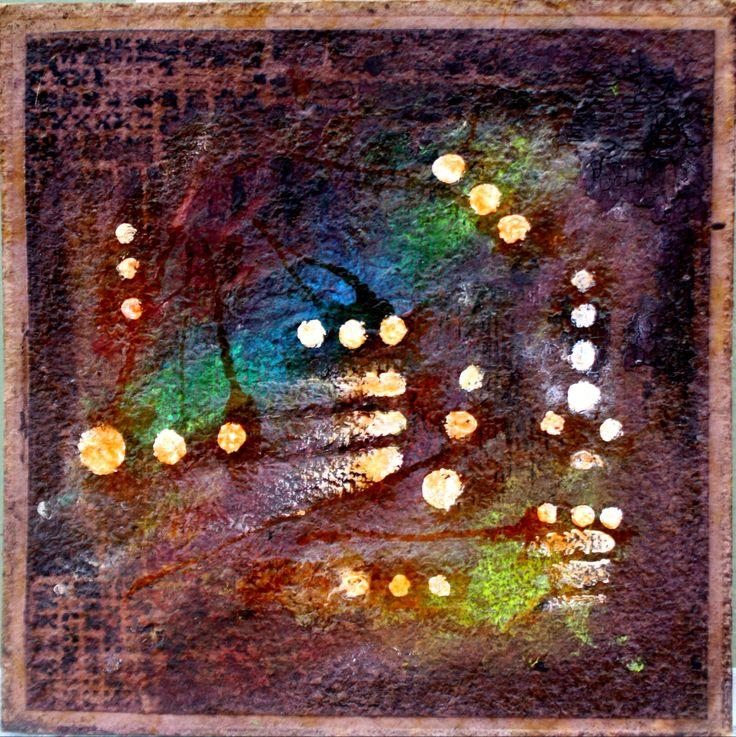 """""""Fragmentos circulares"""" (mixta sobre carton con vino reseco - 40x40 cms)"""