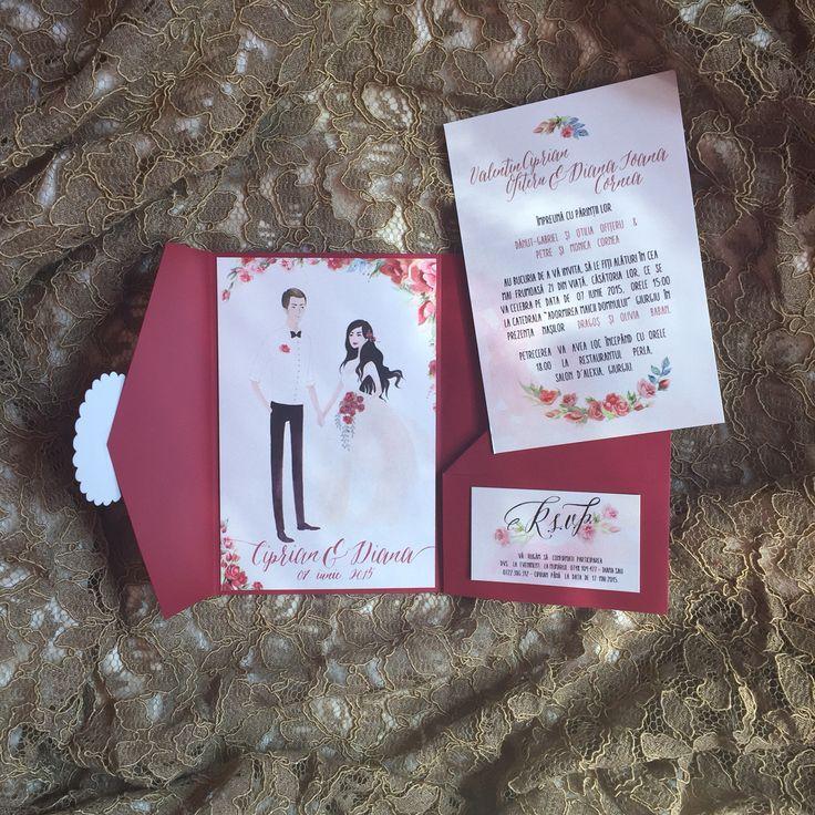 My beautiful custom wedding invitation made by @thesheeps  Ana Maria Calugareanu - Amai; Marsala Handmade Invitation Custom Wedding Portrait Watercolor Roses