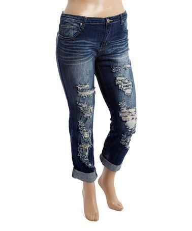 Look at this #zulilyfind! Dark Blue Ripped Boyfriend Jeans - Plus #zulilyfinds