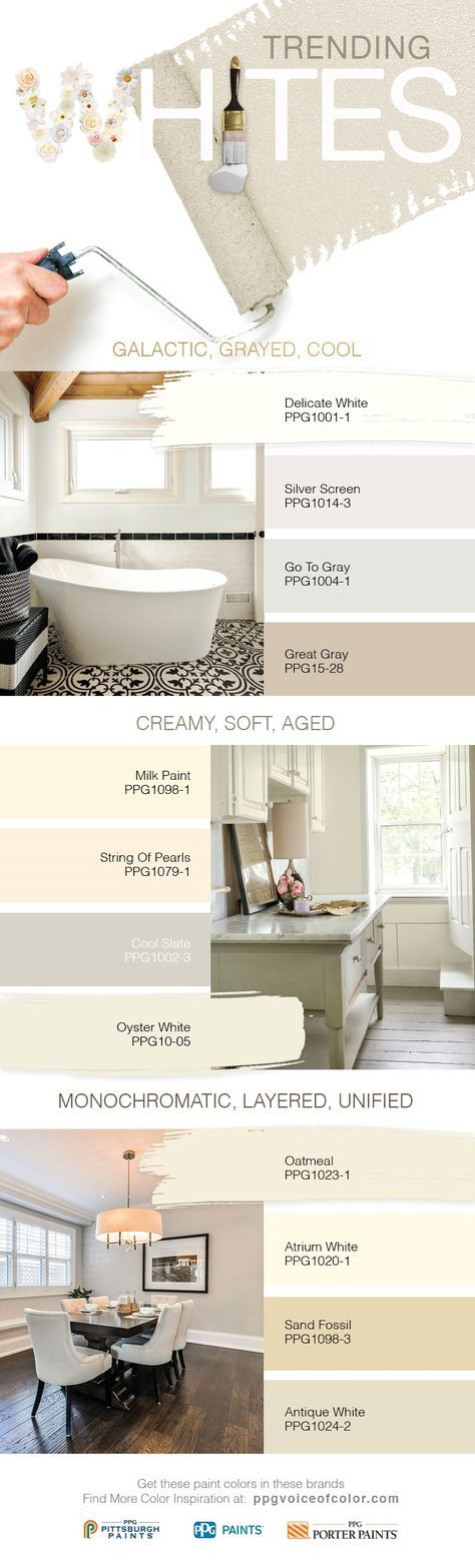 2017 Trending White Paint Colors | White paint colors vary greatly in tint and tone, with many cool and warm white shades. Whites should used be intentionally in design, not used as default colors. Choosing the right white for your space will make a big impact long-term. Used in the right way, whites can be very modern and clean promoting security and stability in the home.