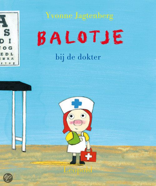 Yvonne Jagtenberg - Balotje Bij De Dokter || Leopold 2012, 32 pagina's || Prentenboek top 10 voor De Nationale Voorleesdagen 2014 || Balotje logeert bij haar tante. In de stad mag ze een cadeau uitzoeken. Balotje kiest een mooi rood dokterskoffertje met échte dokterspulletjes. Nu kan ze iedereen beter maken! Maar Zusje en de hond willen niet meedoen; ze vinden het eng. || http://www.bol.com/nl/p/balotje-bij-de-dokter/1001004011856021/