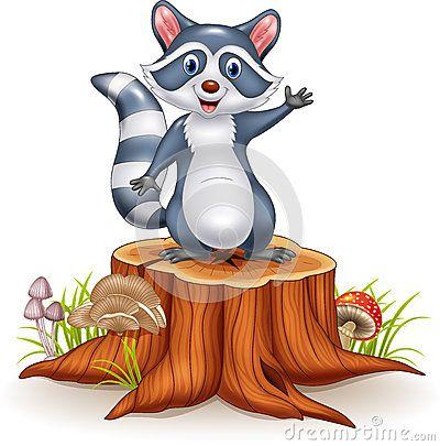 Dos desenhos animados engraçados do guaxinim dos desenhos animados mão de ondulação no coto de árvore