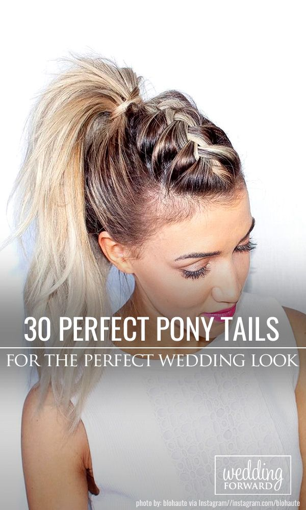 30 Party Perfect Pony Tail Hairstyles For Your Big Day ❤Pony tail hairstyles are so cool. Pair it with your beautiful dress, and a wedding day atmosphere, and it becomes a gorgeous hairstyle, for a chic bride. See more: http://www.weddingforward.com/pony-tail-hairstyles/ #weddings #hairstyles