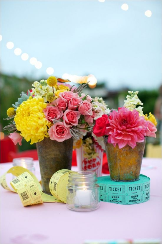 carnival centerpieces at themed wedding weddingreception