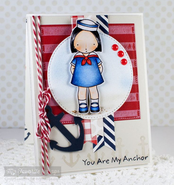 PI Sailor Girl, Striped Background, Go Overboard, Let's Get Nautical Die-namics, Fishtail Flags STAX Die-namics, Fishtail Flags Layers STAX Die-namics, Blueprints 12 Die-namics - Cindy Lawrence #mftstamps