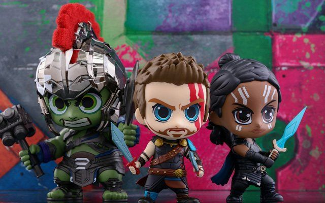 The Thor: Ragnarok Cosbaby Bobblehead Series!   The Thor: Ragnarok Cosbaby bobblehead series!  Hot Toys has today revealed theThor: RagnarokCosbaby bobblehead collectible series!The Thor: RagnarokCosbaby series stands about 10.5  15cm tall and includes Thor Roadworn Thor Gladiator Thor Gladiator Hulk Loki Hela and Valkyrie. Hela and Valkyrie; Gladiator Thor Gladiator Hulk and Lokis helmet with metallic finishing are only available in their respective collectible sets!These cuteThor…