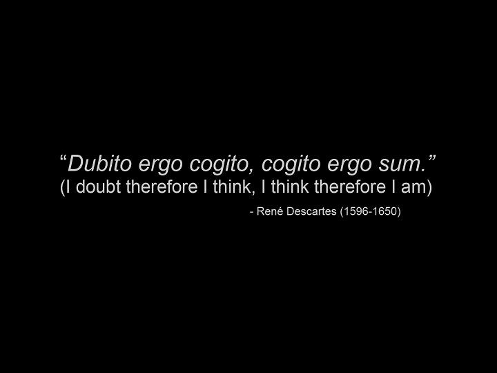 """""""Dubito ergo cogito, cogito ergo sum."""" - """"I doubt therefore I am, I think therefore I am."""" Rene Descartes"""