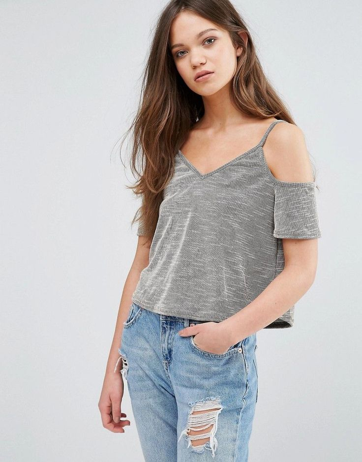 Daisy Street Cold Shoulder Top - Gray