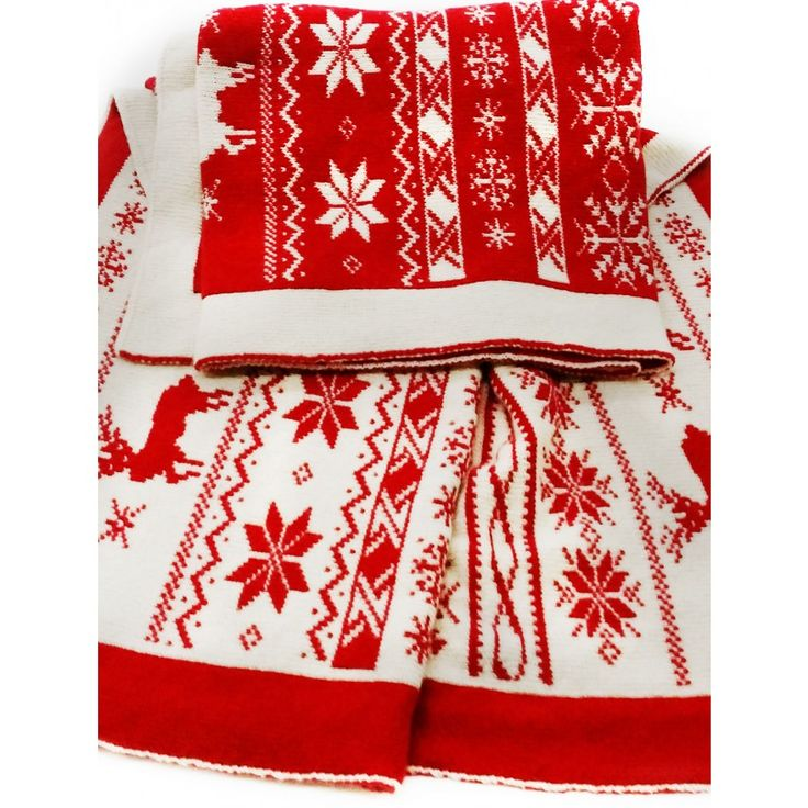 Knitted cashmere blend throw with Christmas drawings, fashion colors, made in Italy