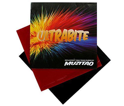 Ultrabite de tennis de table en caoutchouc par Muzitao (lot de 2, 1 x rouge + 1 x noir) Raquette de tennis de table gommes de remplacement:…