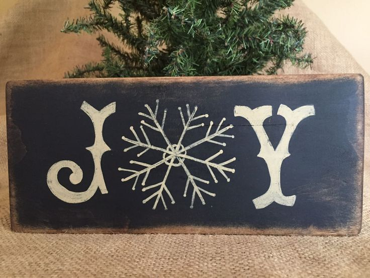 "Primitive Country Christmas Joy with Snowflake 3.5"" x 8"" Wood Sign Shelf Sitter in Art, Direct from the Artist, Folk Art & Primitives 