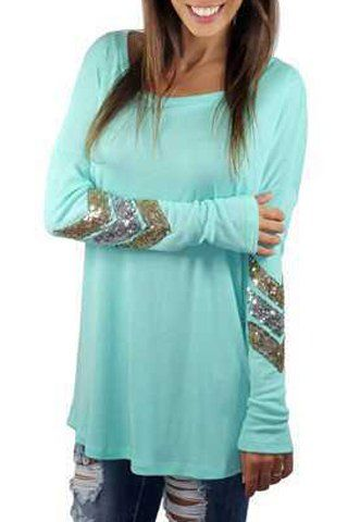 Sweet Women's Round Neck Sequined Long Sleeve T-Shirt