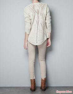 Удивительный ажур - свитер спицами