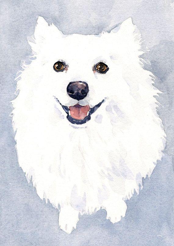 Custom White Dog Pet Portrait Watercolor Painting ...