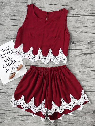 Chevron Lace Hem Split Back Tank Top With Shorts