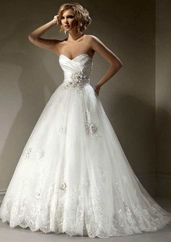 A-Line Strapless Floor-Length Sweep Trailing Organza Wedding Dresses