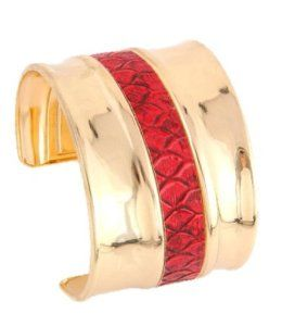 Cuff Bracelet -Gold/Red color leatherette Arras Creations. $25.00