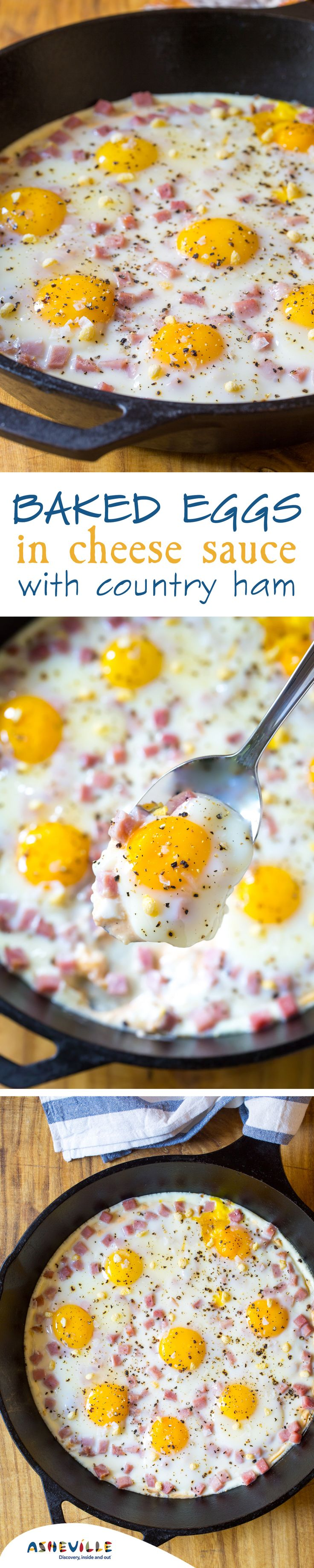 Baked Eggs in Cheese Sauce with Country Ham and Rice Krispies Recipe. An impressive, comfort-food breakfast dish to make for guests.