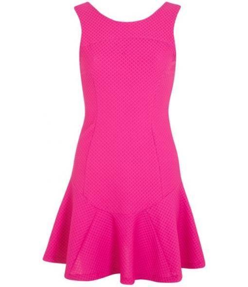 Pink Texture Trumpet Hem Dress