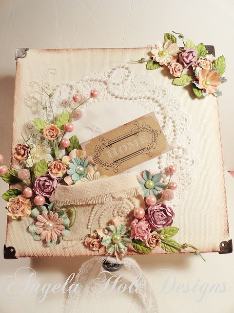 Shabby Chic / vintage handmade card using flowers by Angela Holt's Design