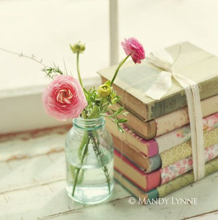 Love this idea!! Cover vintage books in seasonal scrap paper!    Spring Flora by MandyLynneDesign on Etsy, $25.00