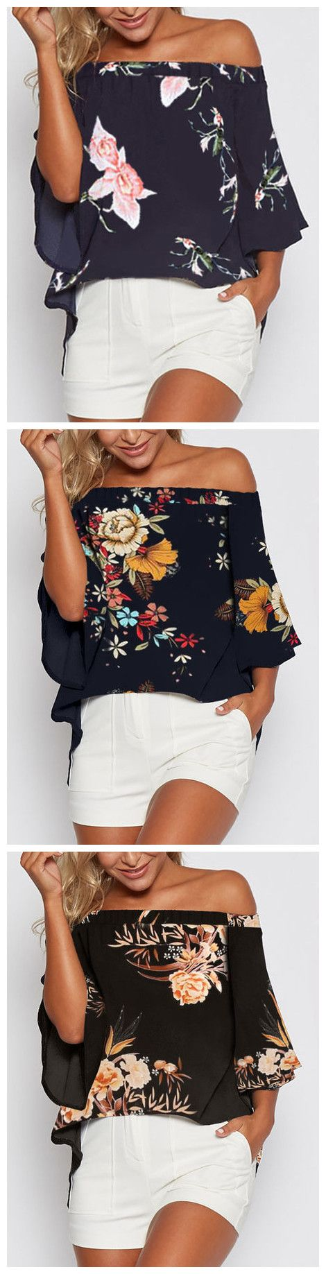 Random Floral Print Off Shoulder Slit Blouse - US$11.95 2