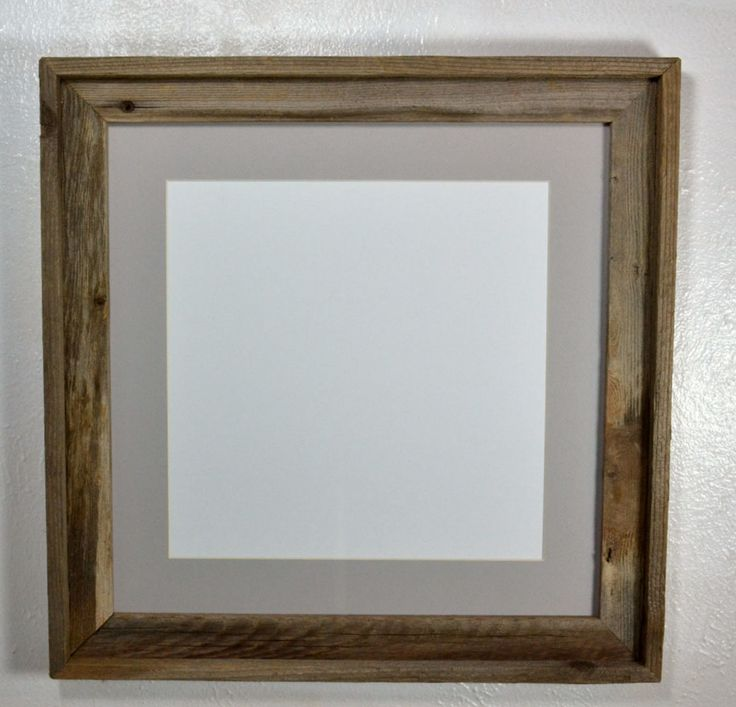 12x12 gray mat in  rustic reclaimed wood picture frame 16x16 without mat