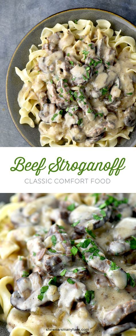 Beef Stroganoff is quite possibly the quintessential comfort food. This delicious recipe is easy to make! shewearsmanyhats.com