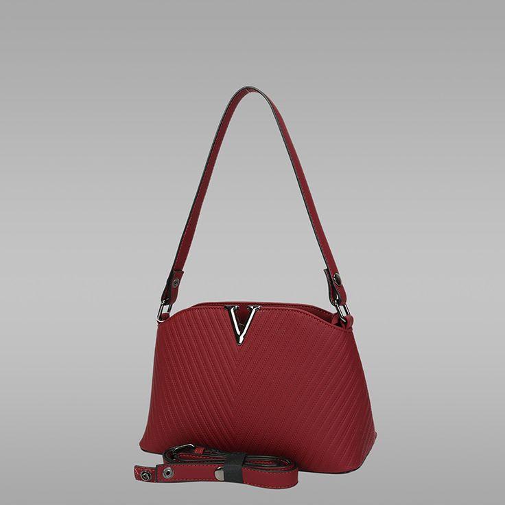 Burgundy Colour PU Leather Handbag