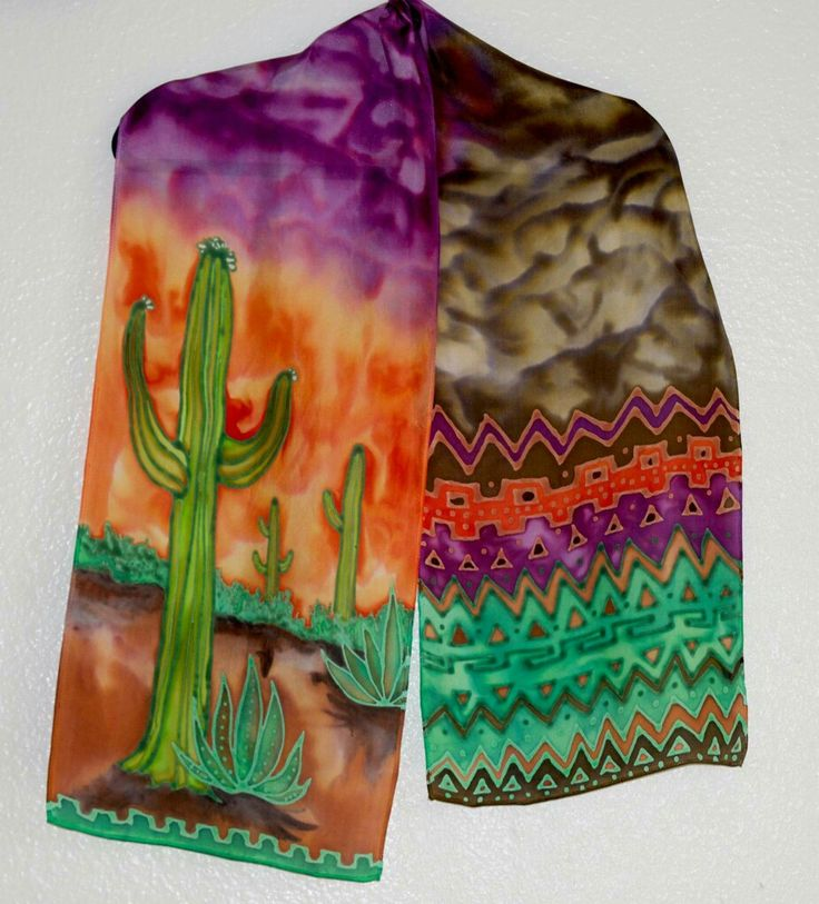 Saguaro on Habotai silk, 11x60 in