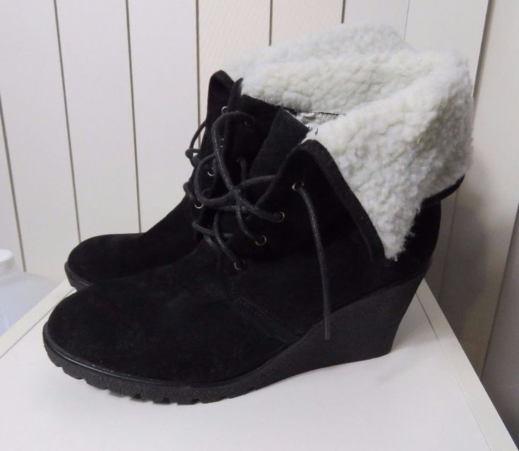 Size 9 Vybe Ladies Black Ankle Knee Boots Wedge Heel Casual Chic Boho Design #Vybe #AnkleBoots #Casual