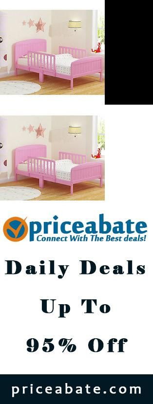#priceabatedeals New XL Guardrail Wooden Toddler Bed Pink Kids Pink Childrens Bedroom Furniture - Buy This Item Now For Only: $116.97