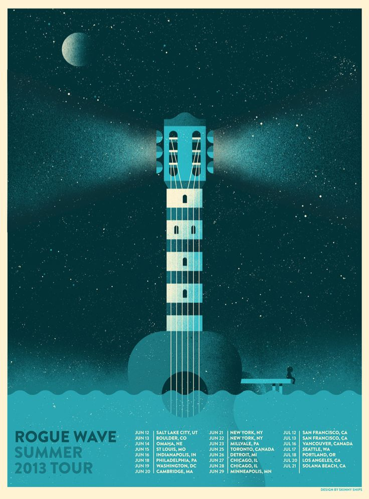 pinterest.com/fra411 #poster #lighthouse - Rogue Wave Summer 2013 Tour Poster by Richard Perez