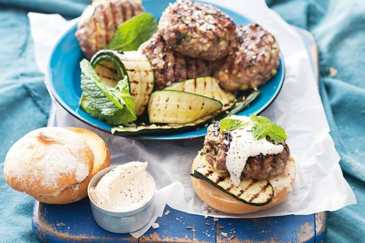 Add some big punchy flavours to a barbecued burger with this tasty lamb, zucchini and haloumi version.