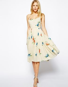 ASOS Midi Dress with Pleated Skirt in Floral Print - Lindsey & Grant's Wedding August 2014.