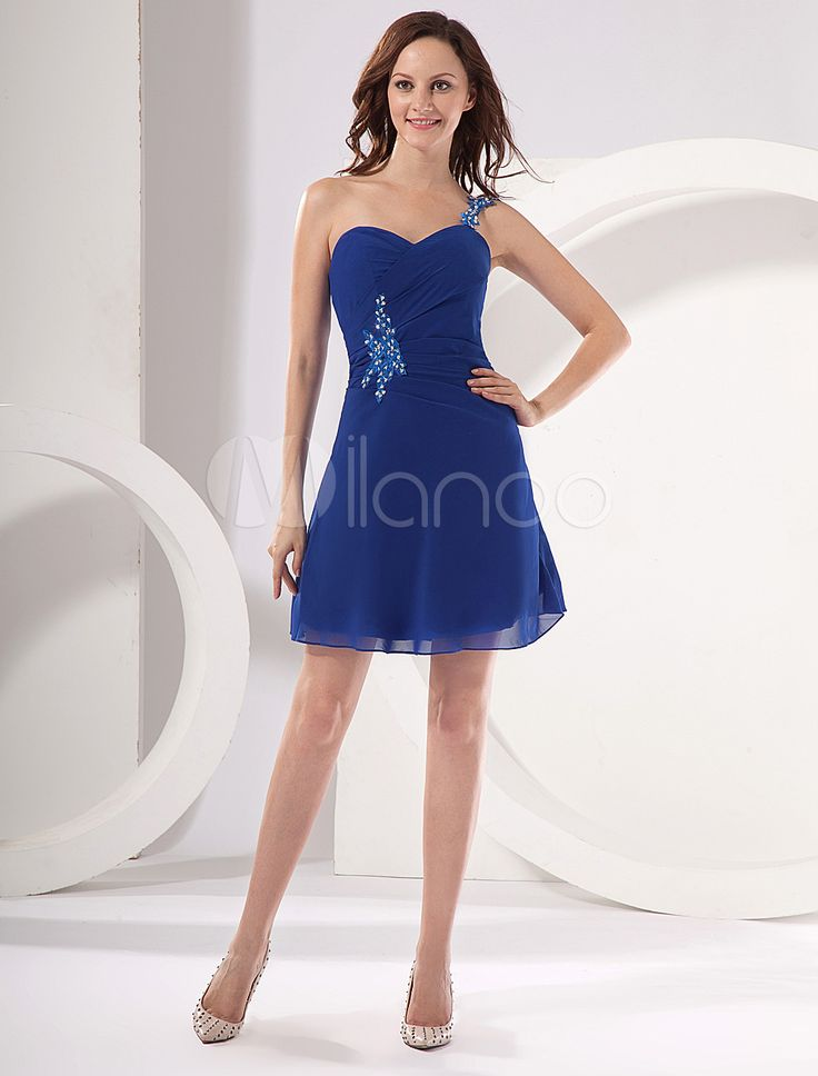 [$99.99] Glamorous Sapphire One Shoulder Chiffon A-line Womens Homecoming Dress