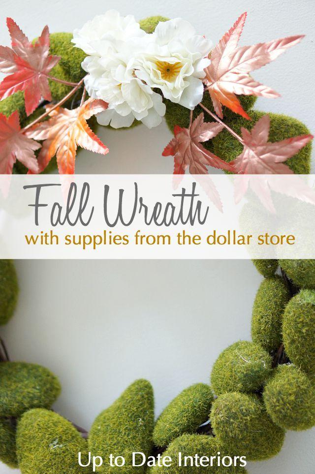 {For the moss wreath hot glue moss rocks onto a grapevine wreath form.}