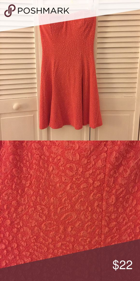 Strapless Coral Skater Dress Gorgeous coral skater skirt from Papaya, only worn a handful of times- in great condition! Stretchy material, and has padding around the breasts. Papaya Dresses Strapless