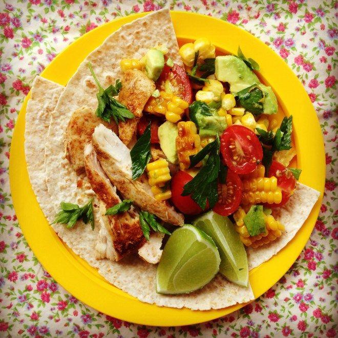 chicken tacos w' grilled corn & avocado salsa