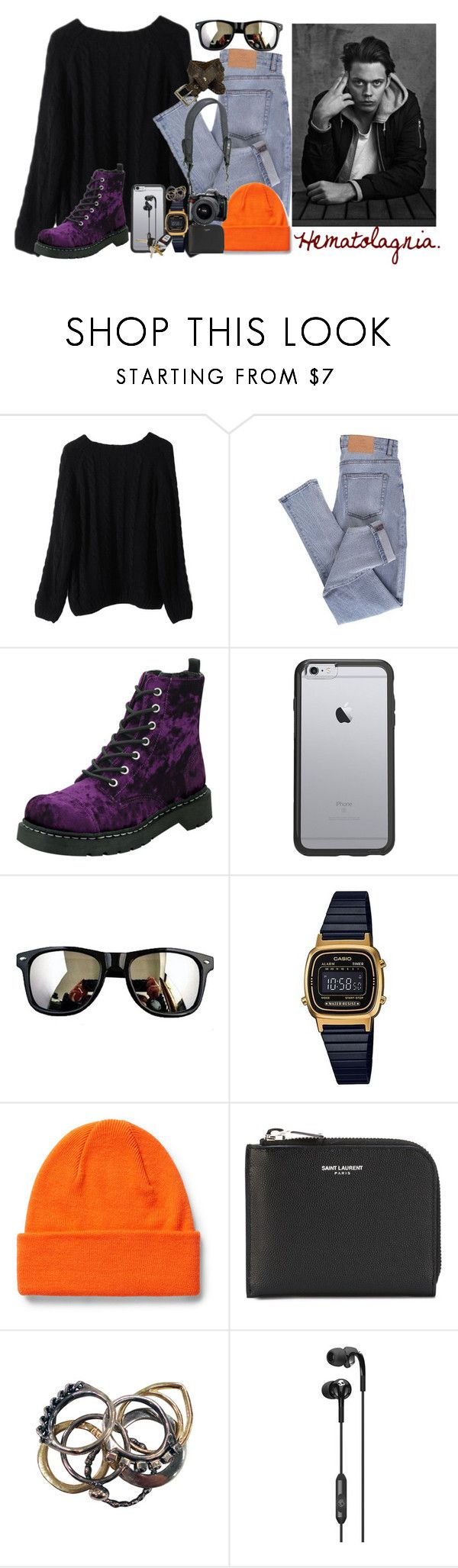 """""""Hematolagnia"""" by narniachicken ❤ liked on Polyvore featuring Cheap Monday, T.U.K., OtterBox, G-Shock, Yves Saint Laurent, Reef, Iosselliani, Skullcandy and Daytrip"""