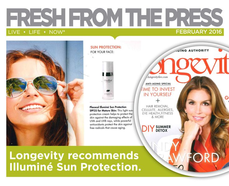 Longevity recommends Placecol Illuminé Sun Protection SPF25 for your face. ‪#‎FreshFromThePress‬ ‪#‎FreshSkin‬