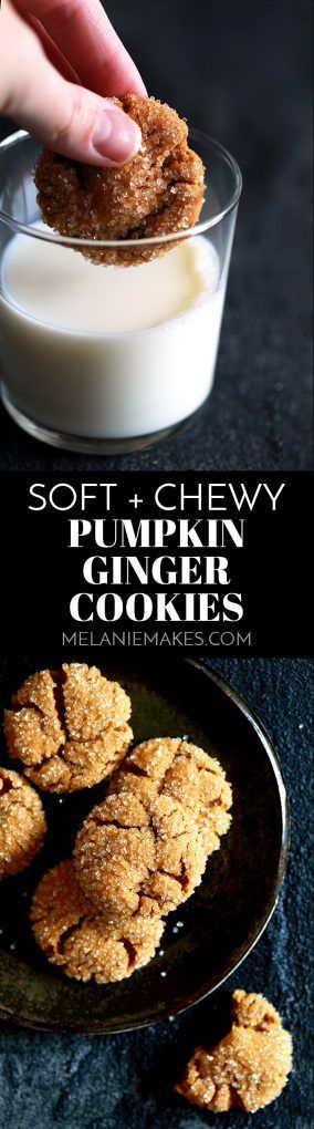 These eight ingredient Soft and Chewy Pumpkin Ginger Cookies are perfect any time of year but are destined to be an autumn cookie all-star. Pumpkin, molasses, cinnamon and ginger bring the warmth and expected fall flavors to these pillowy cookies.
