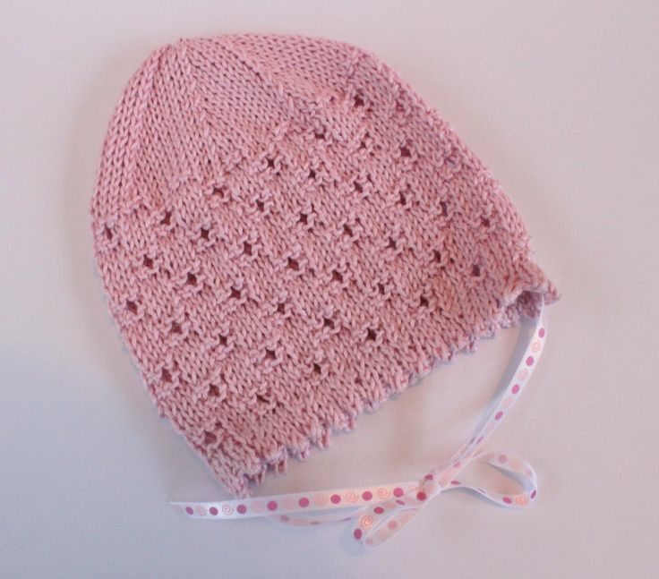 Pink Baby Hat, Pink Baby Bonnet, Cotton Baby Hat, Cute Baby Hat,Pretty Baby Hat,Baby Girl Hat,Baby Xmas Gift,Hand Knit Hat,Stocking Filler by Pinknitting on Etsy