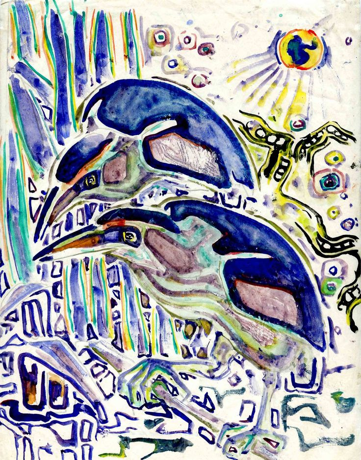 Walter Anderson, Green Herons solve a mystery. ( I have this print, framed and hanging in my house. Love it!)