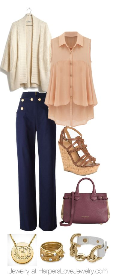 Spring Fashion. Navy Blue + Champagne + Accessories