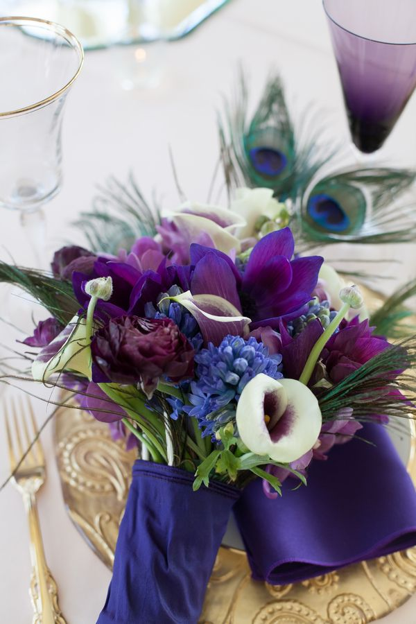 Purple & Gold Peacock Wedding Inspiration| Photo by: Pink Pumps Photography